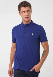Polo Ralph Lauren Masculina Piquet Custom Fit Azul Small Pony Amarelo