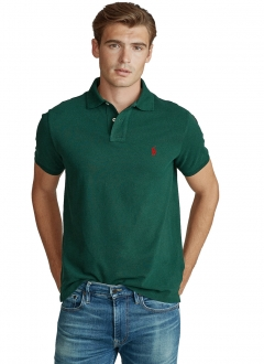 Polo Ralph Lauren Masculina Piquet Custom Fit Red Icon Verde Musgo