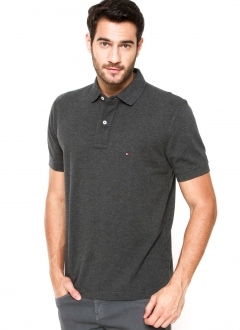 Polo Tommy Hilfiger Masculina Regular Fit Piquet Cinza Chumbo