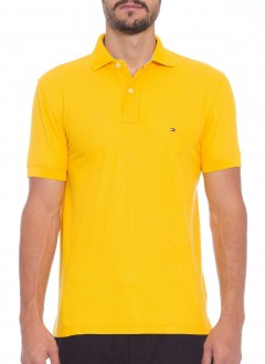 Polo Tommy Hilfiger Masculino Regular Fit Amarelo Ouro