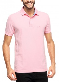 Polo Tommy Hilfiger Masculino Regular Fit Rosa Claro