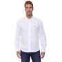 Camisa Lacoste Regular Fit Logo Patch White Oxford Branco
