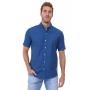 Camisa Ralph Lauren Masculina Manga Curta Custom Fit Classic Icon Cotton Oxford Azul