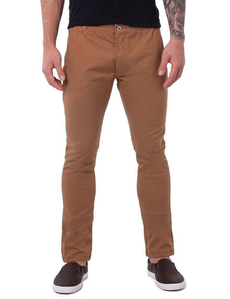 Calça Ralph Lauren de Sarja Chino Masculina Stretch Slim Fit Marrom Caramelo