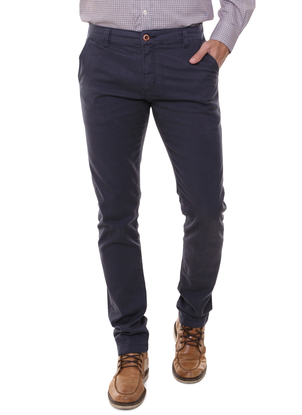 Calça Ralph Lauren de Sarja Chino Stretch Slim Fit Azul Escuro