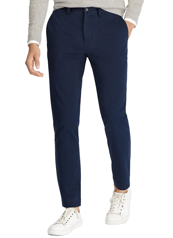 Calça Ralph Lauren de Sarja Chino Marculina Stretch Slim Fit Azul Marinho