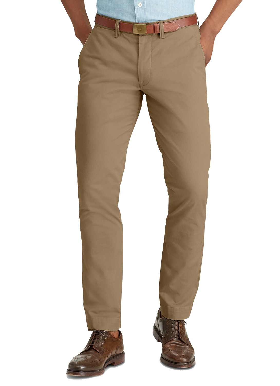 Calça Ralph Lauren de Sarja Chino Masculina Stretch Slim Fit Caqui