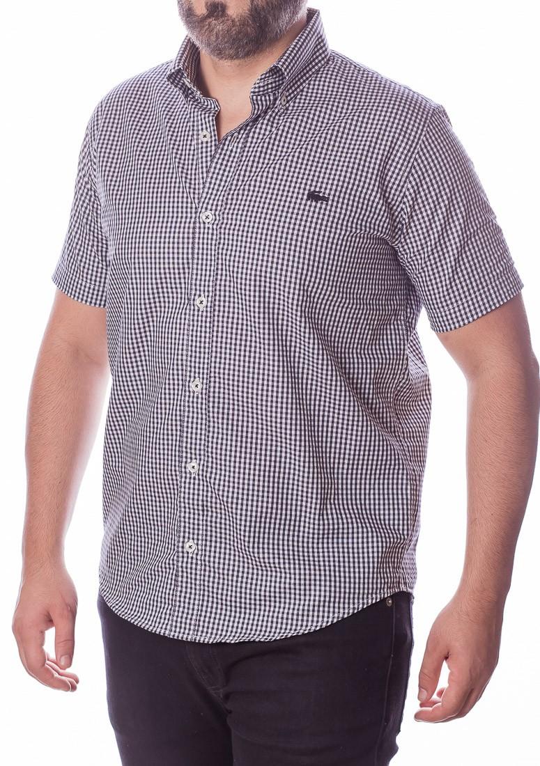 Camisa Lacoste Masculina Manga Curta Regular Fit Quadriculada Preto