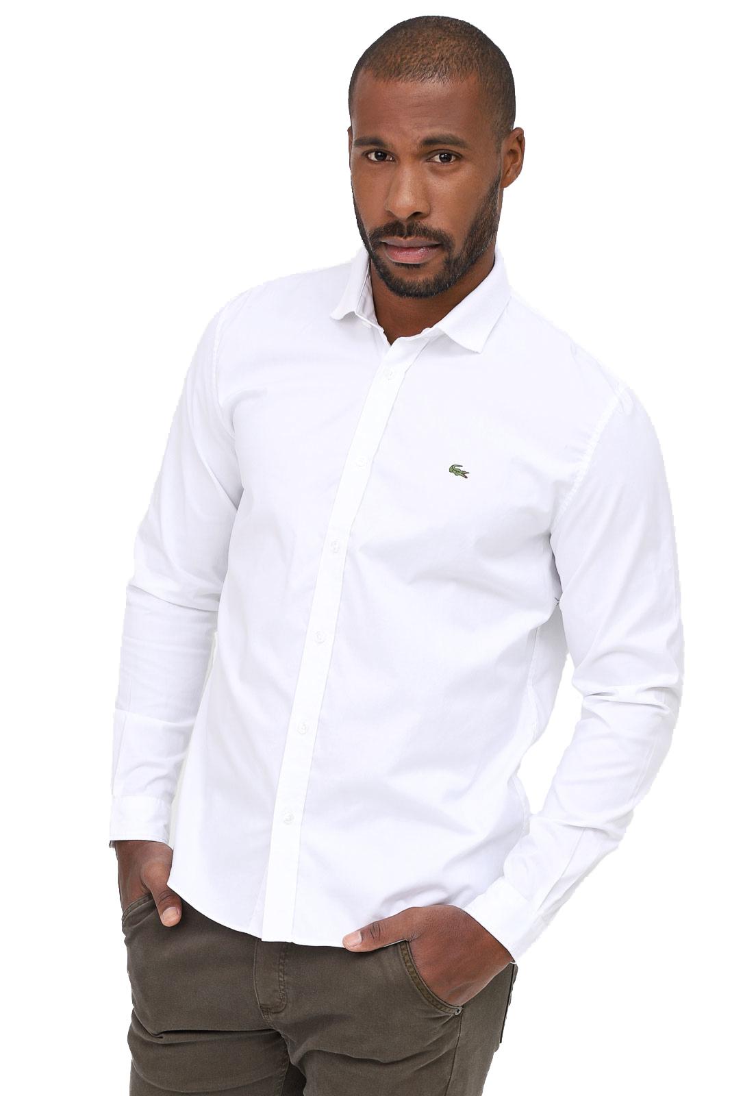 Camisa Lacoste Regular Logo Classico Oxford Branco