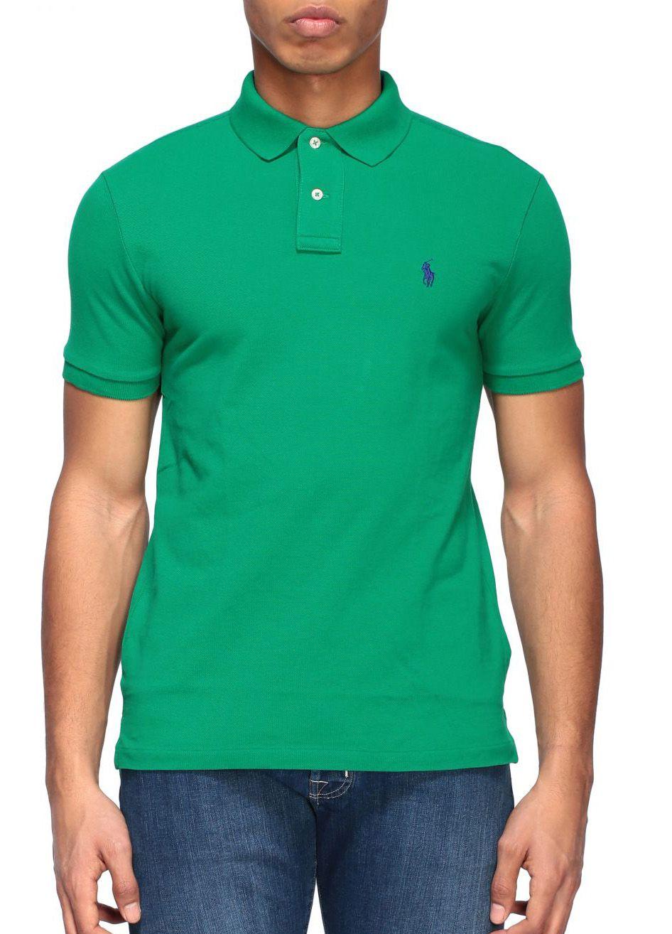 Polo Ralph Lauren Masculina Slim Fit Verde Bordado Logo Roxo