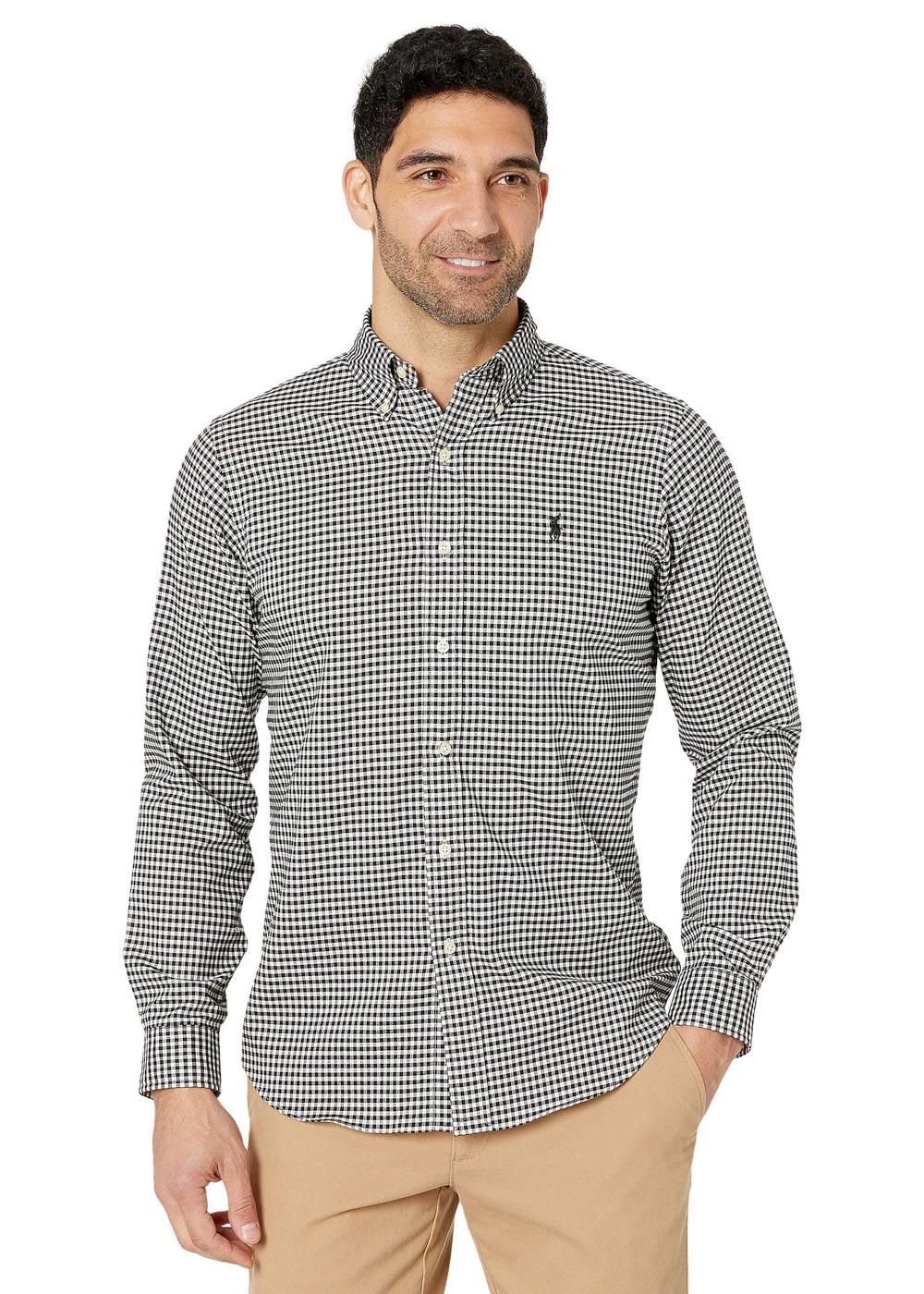 Camisa Ralph Lauren Custom Fit Icon Black Classic Checkered Quadriculada Preto