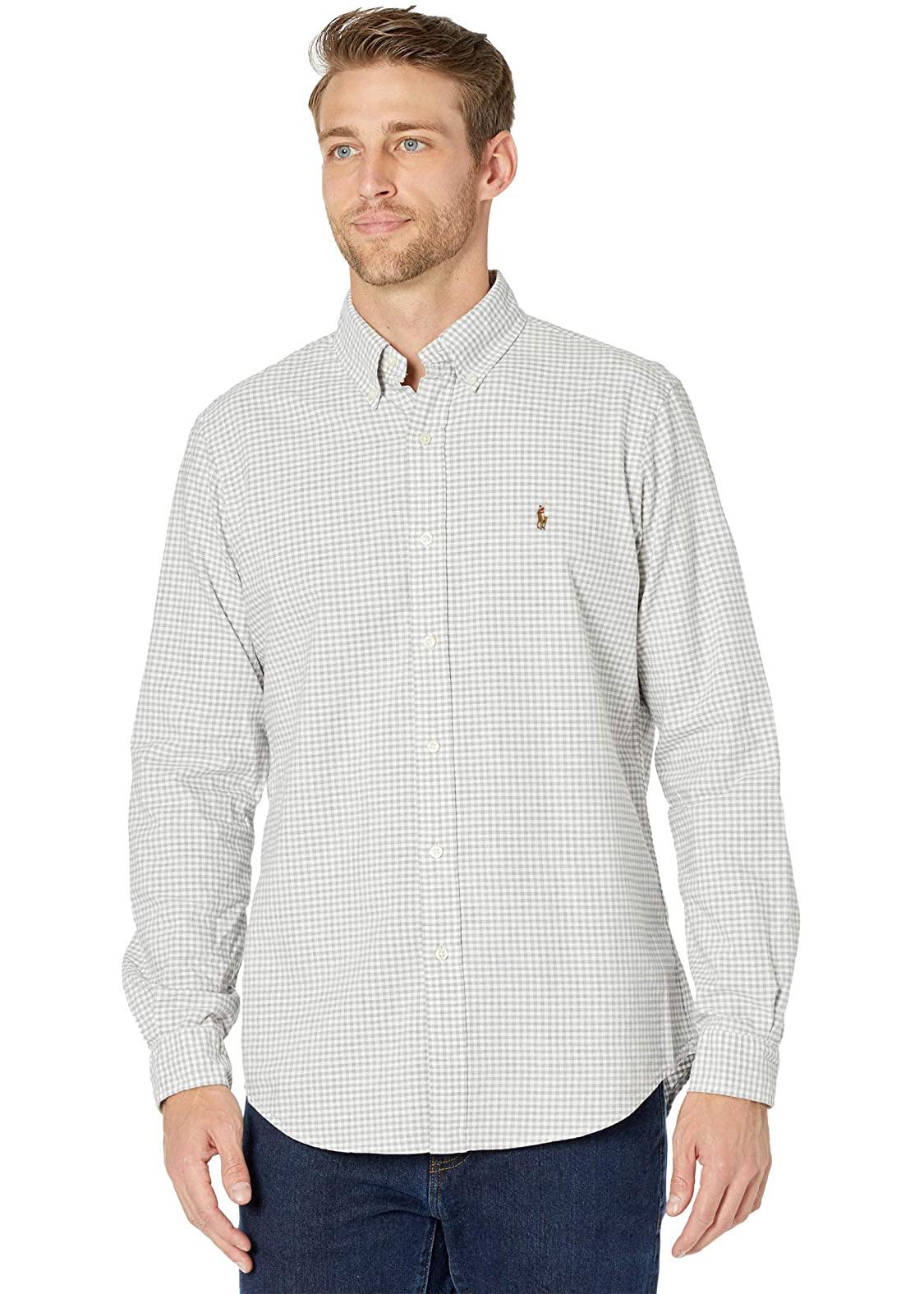 Camisa Ralph Lauren Custom Fit Icon Color Checkered Quadriculada Cinza Claro
