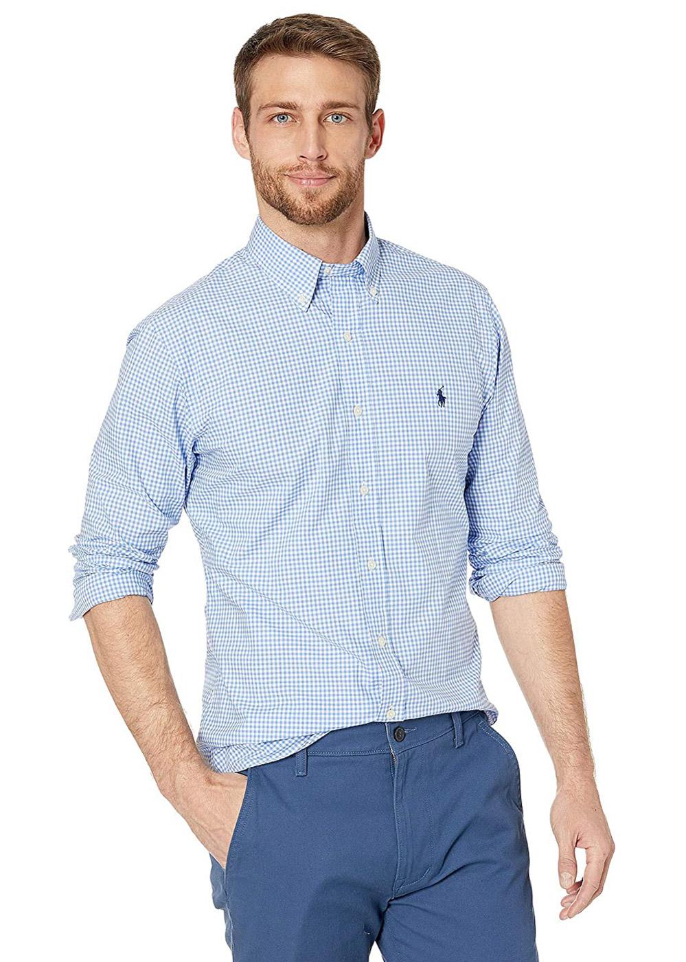 Camisa Ralph Lauren Custom Fit Icon Marinho Classic Checkered Quadriculada Azul Claro