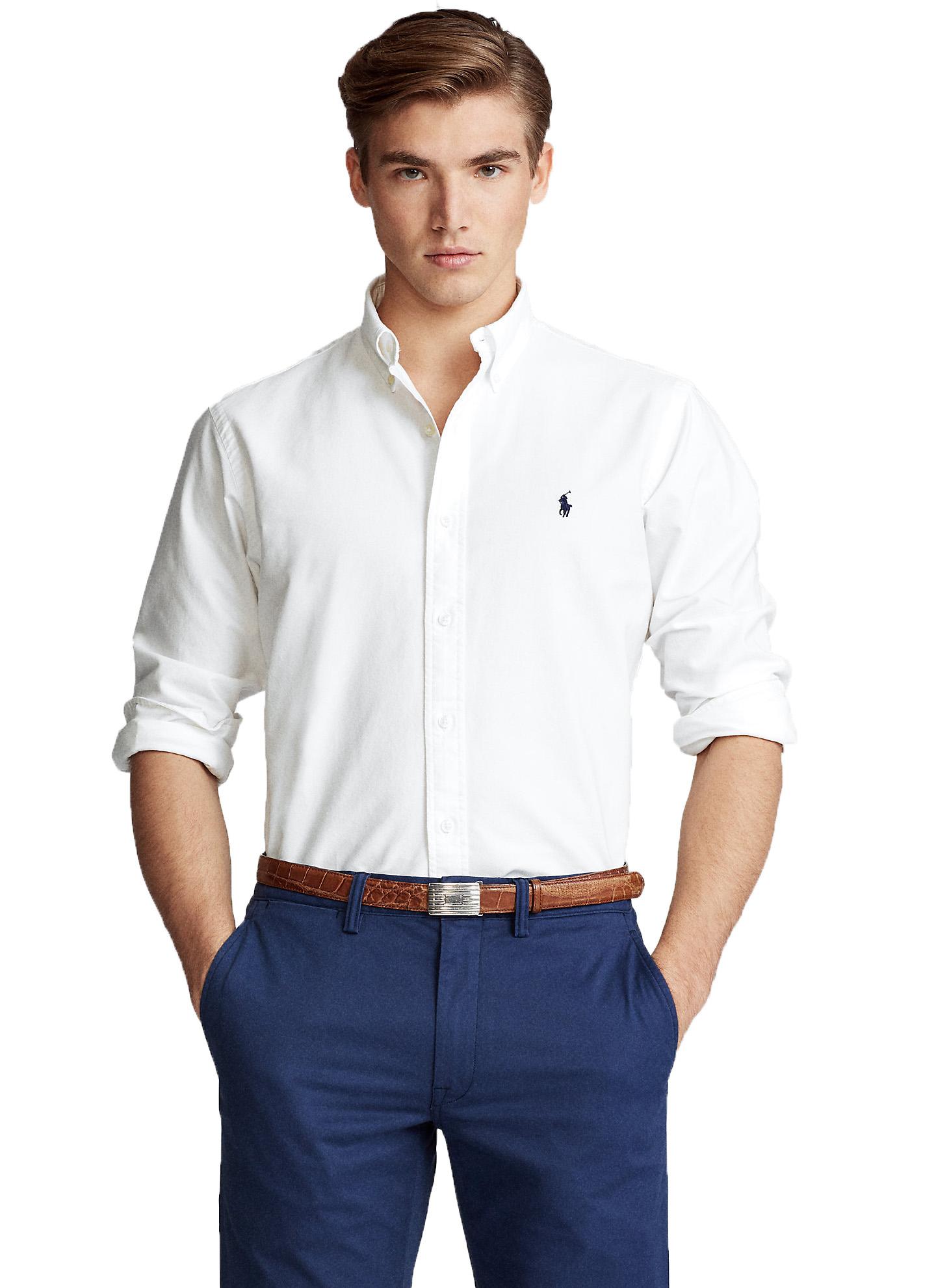 Camisa Ralph Lauren Masculina Custom Fit Algodão Oxford Branco