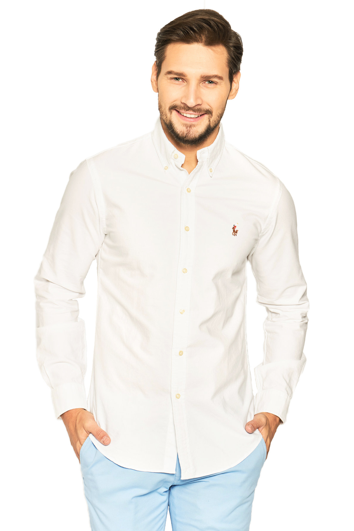 Camisa Ralph Lauren Masculina Custom Fit Color Icon Algodão Oxford Branco