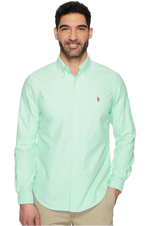 Camisa Ralph Lauren Masculina Custom Fit Color Icon Algodão Oxford Verde Claro