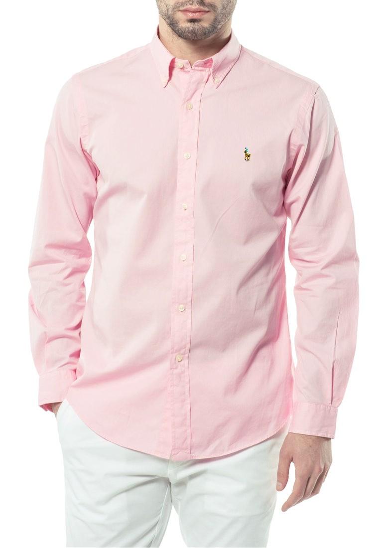 Camisa Ralph Lauren Masculina Custom Fit Cotton Rosa Colored