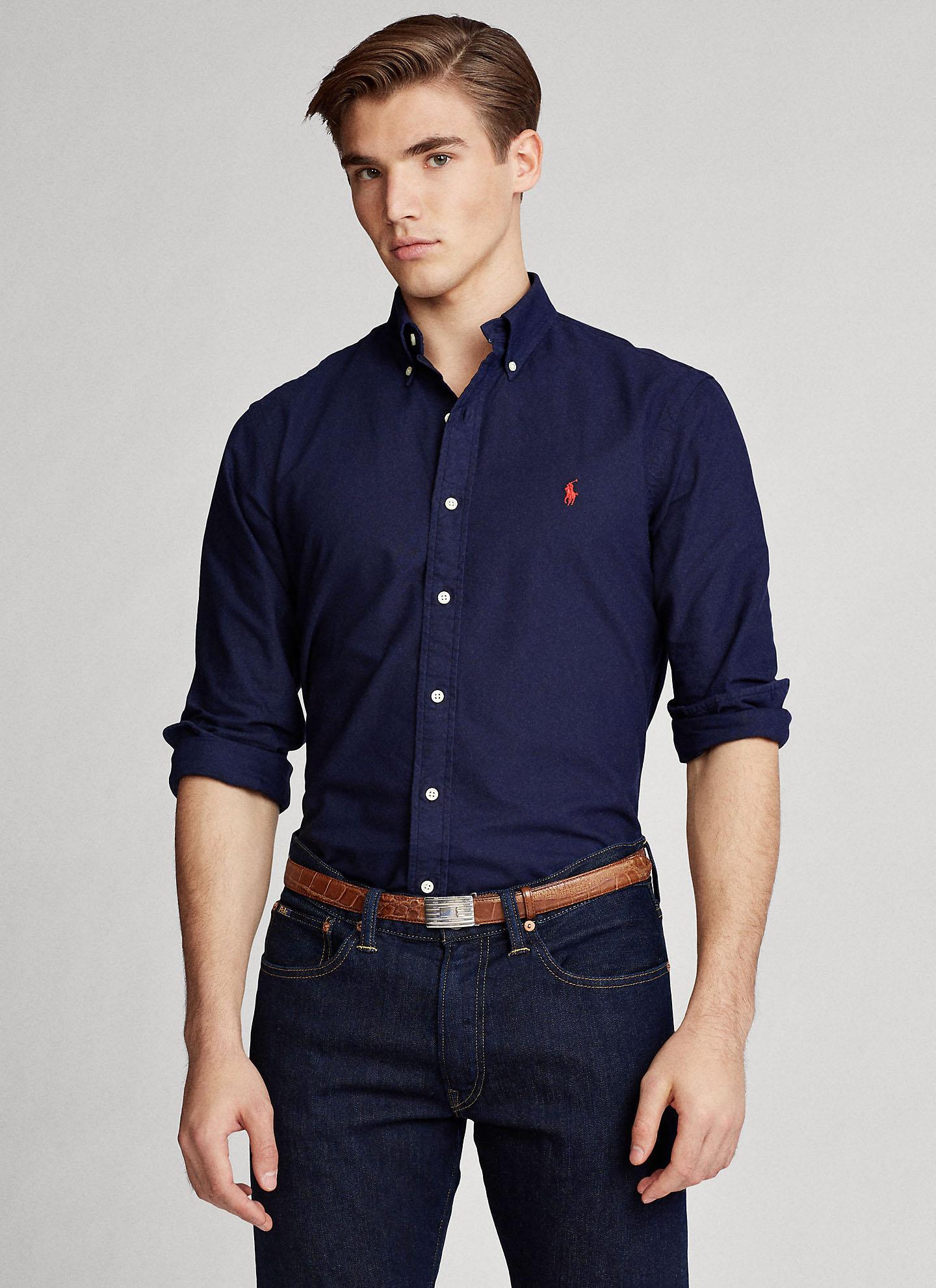 Camisa Ralph Lauren Masculina Custom Fit Gingham Oxford Azul Marinho