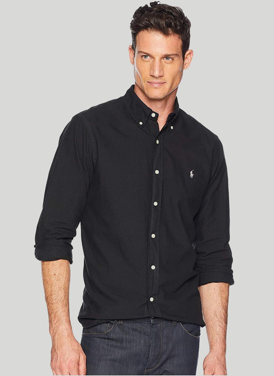Camisa Ralph Lauren Masculina Custom Fit Gingham Oxford Preto