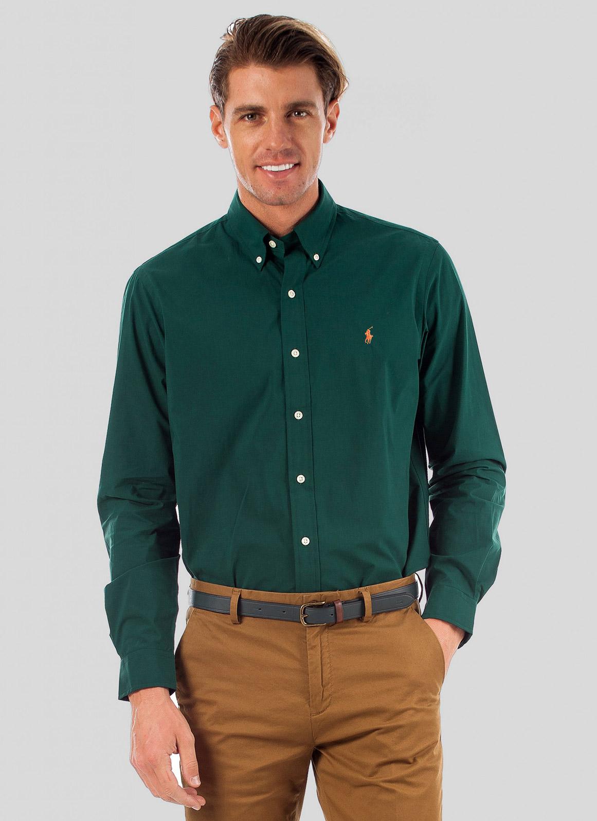 Camisa Ralph Lauren Masculina Custom Fit Gingham Oxford Verde Musgo