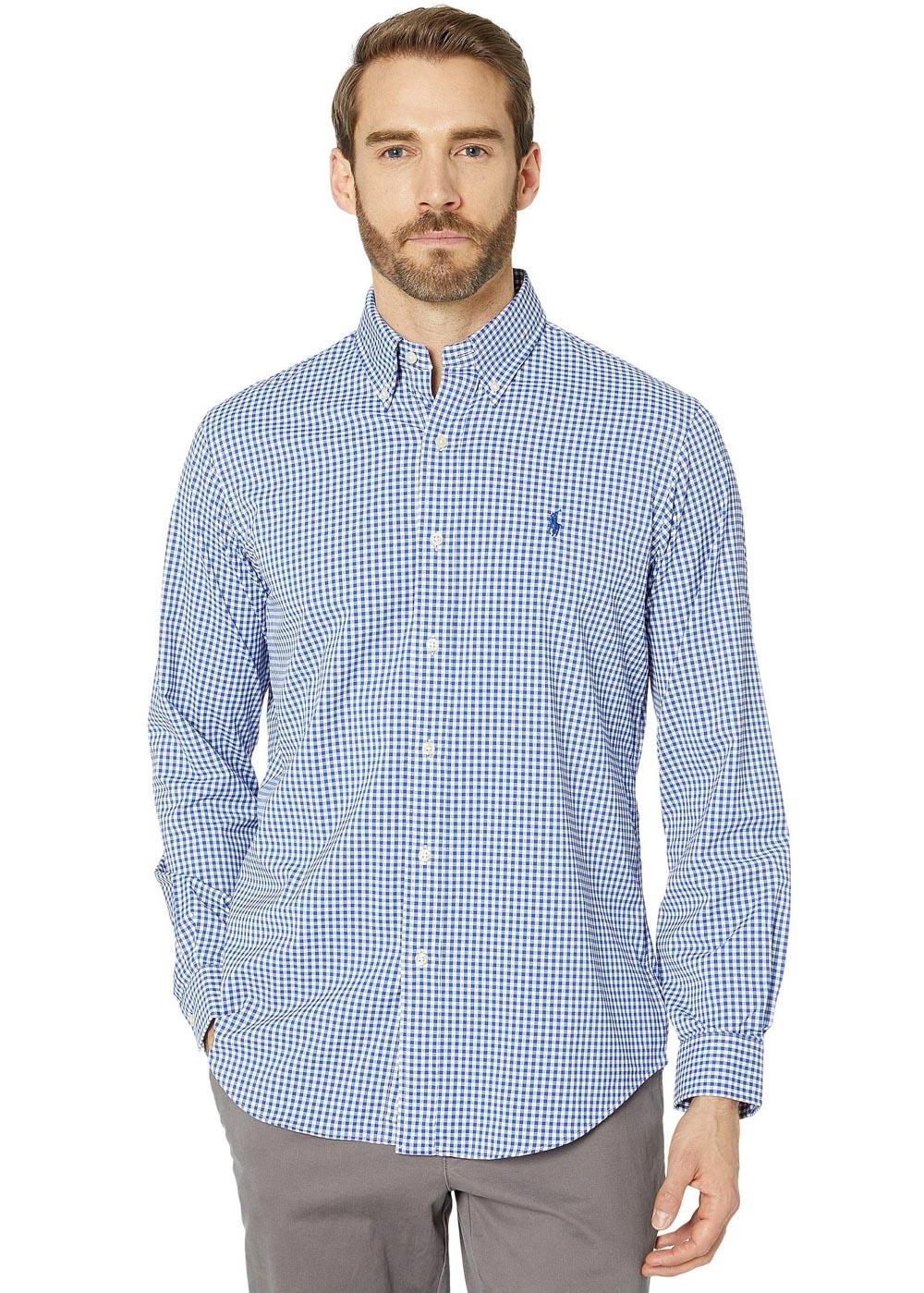 Camisa Ralph Lauren Masculina Custom Fit Icon Blue Classic Checkered Quadriculada Azul