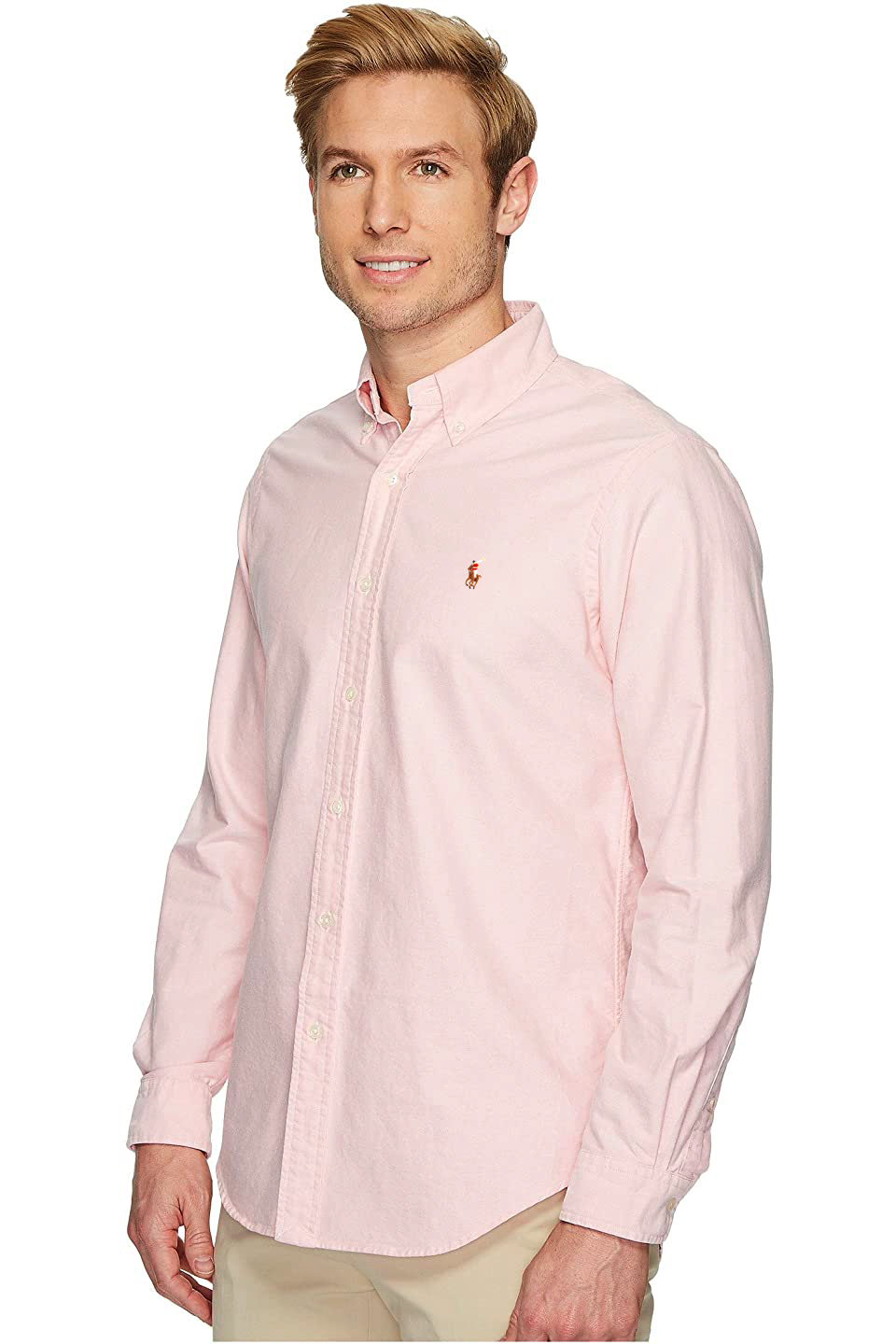 Camisa Ralph Lauren Masculina Custom Fit Icon Color Cotton Oxford Rosa