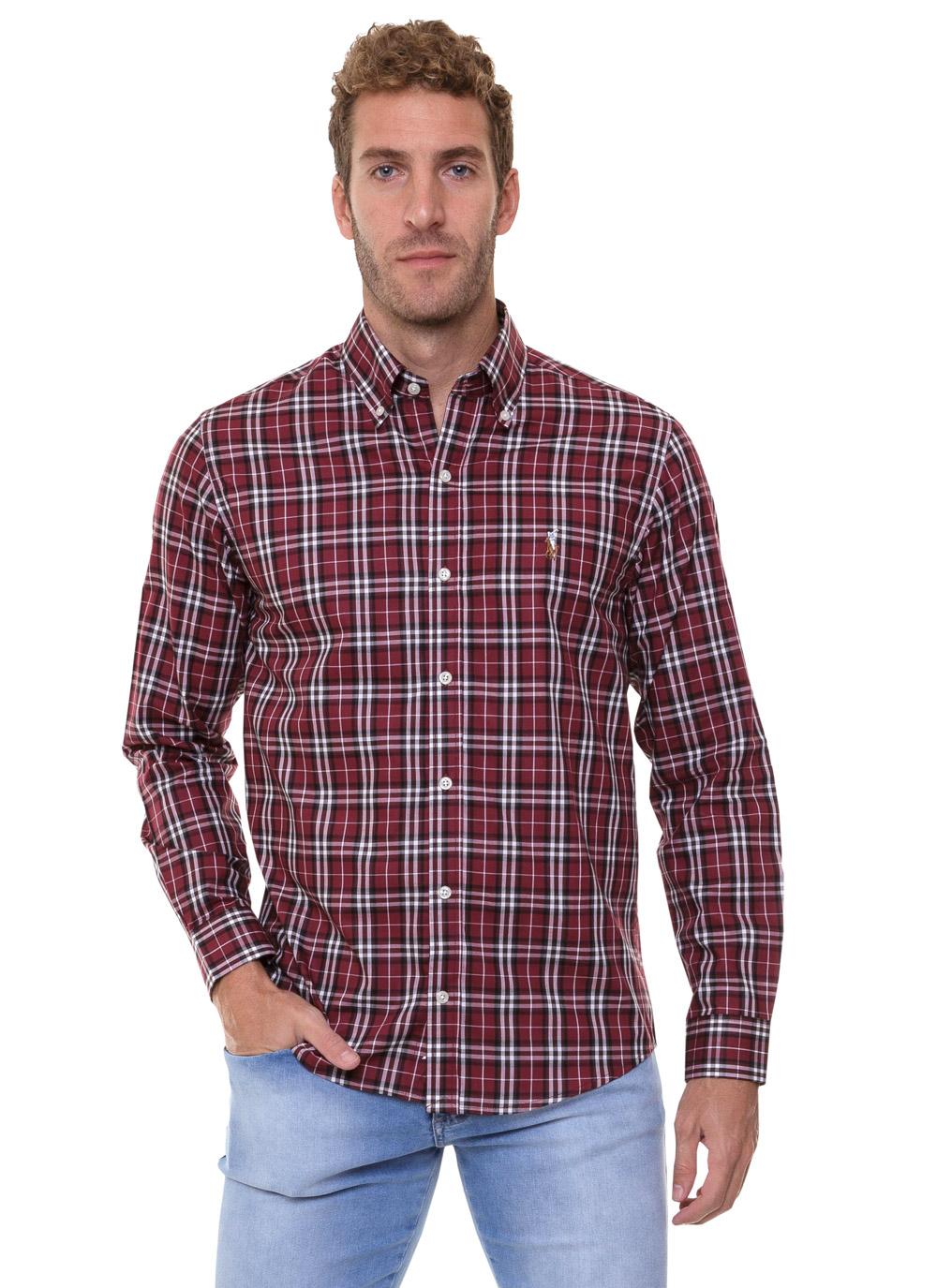 Camisa Ralph Lauren Masculina Custom Fit Icon Color Xadrez Check Bordô