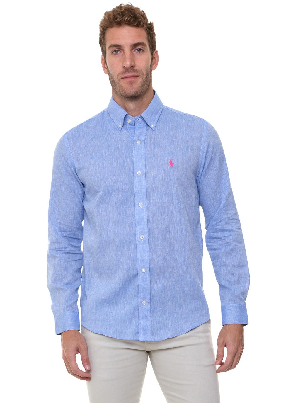 Camisa Ralph Lauren Masculina Custom Fit Icon Pink Linho Azul