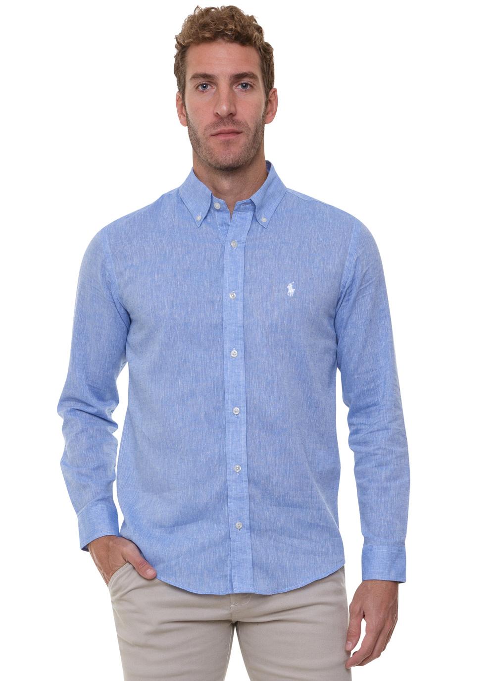 Camisa Ralph Lauren Masculina Custom Fit Icon White Linho Azul