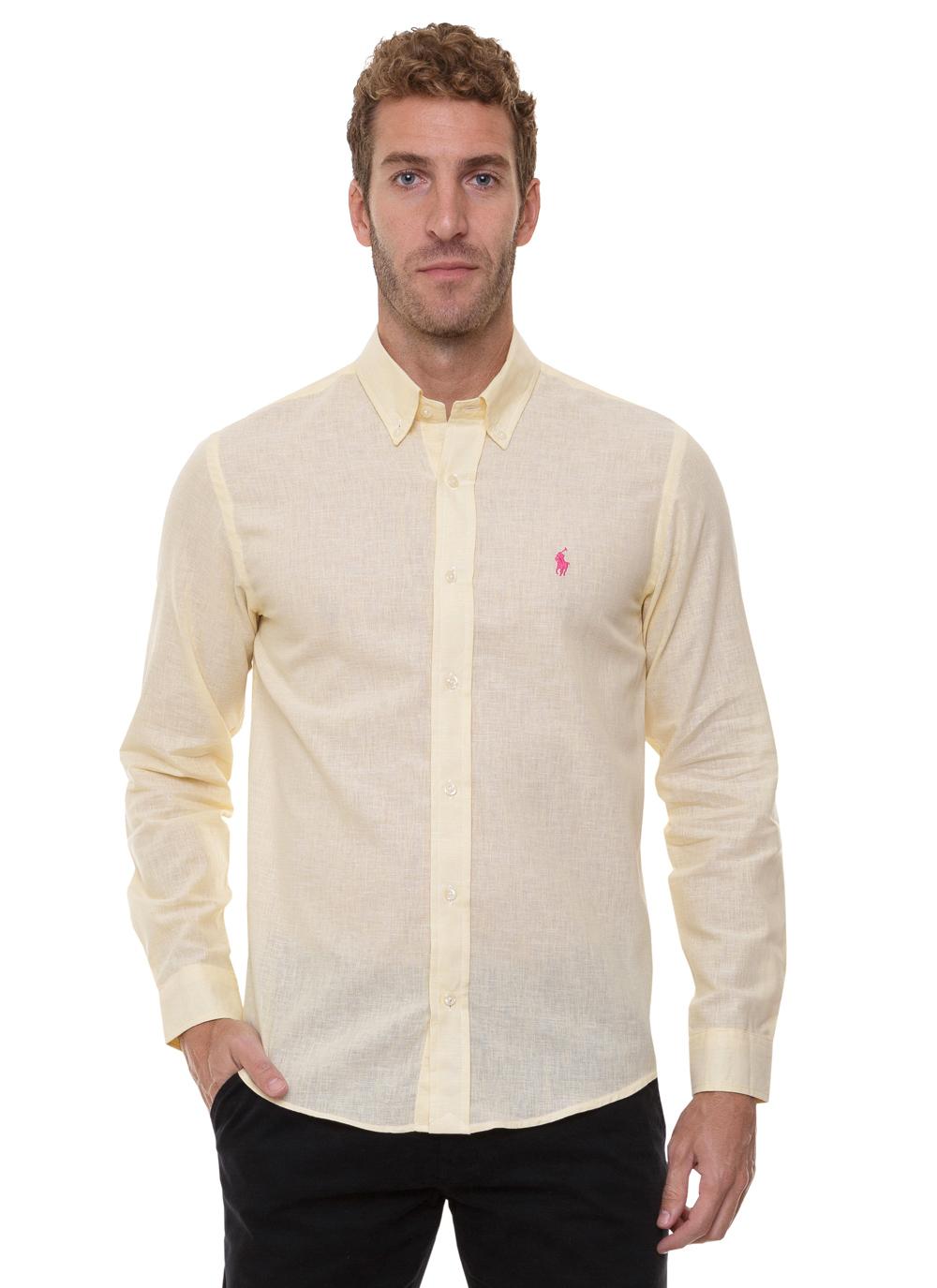 Camisa Ralph Lauren Masculina Custom Fit Lightweight Linho Amarelo