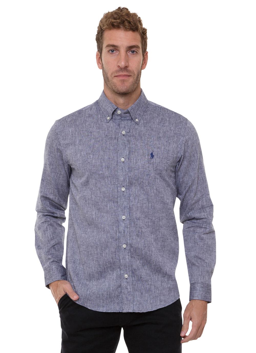 Camisa Ralph Lauren Masculina Custom Fit Lightweight Linho Cinza