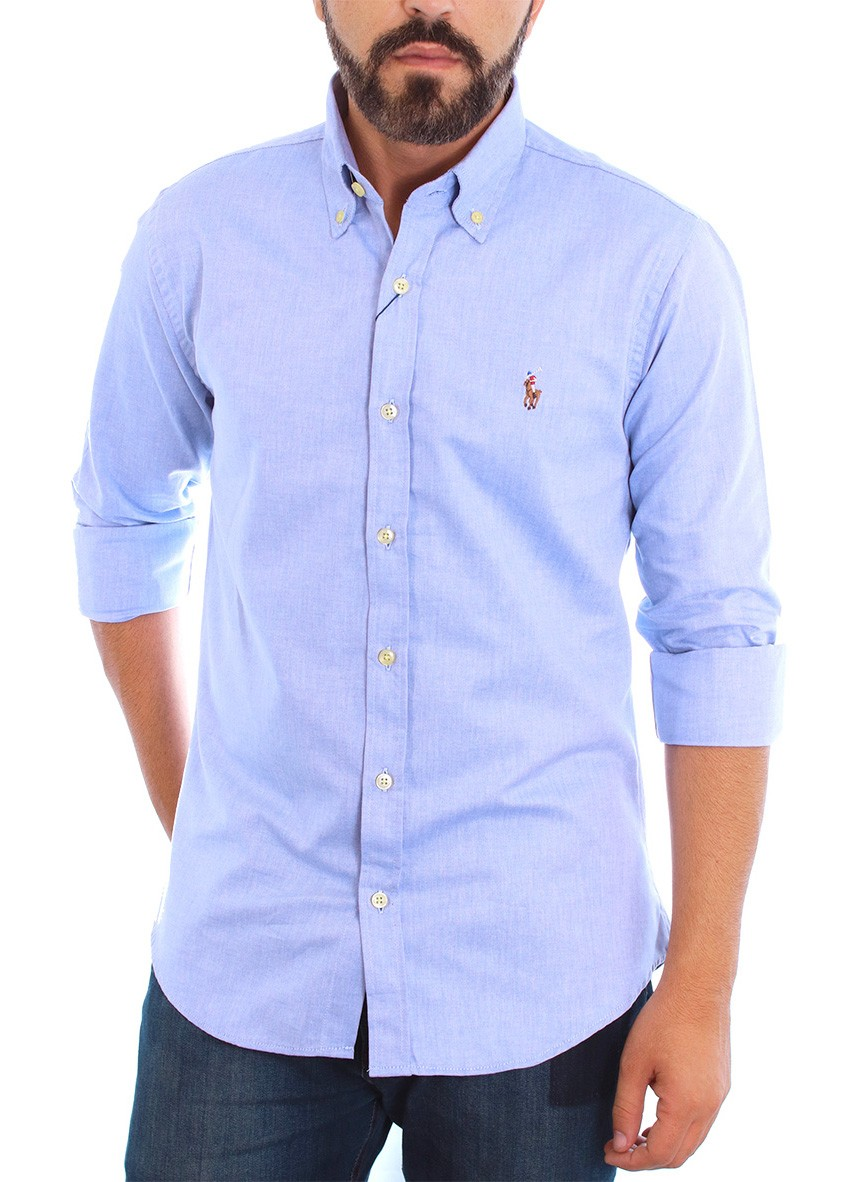 Camisa Ralph Lauren Masculina Custom Fit Logo Colored Oxford Azul Aço