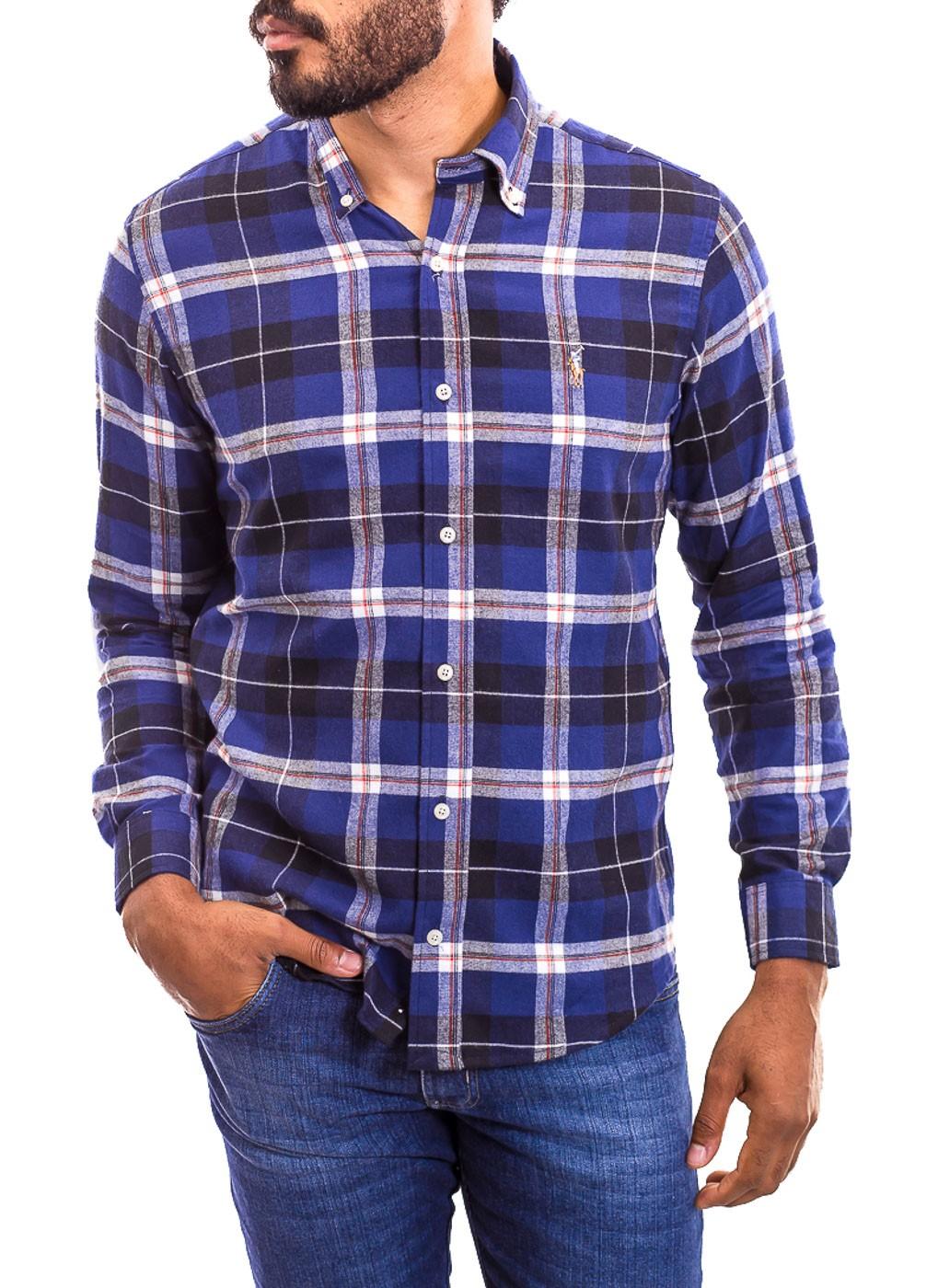 Camisa Ralph Lauren Masculina Custom Fit  Logo Colored Xadrez Flanelada Azul Indigo
