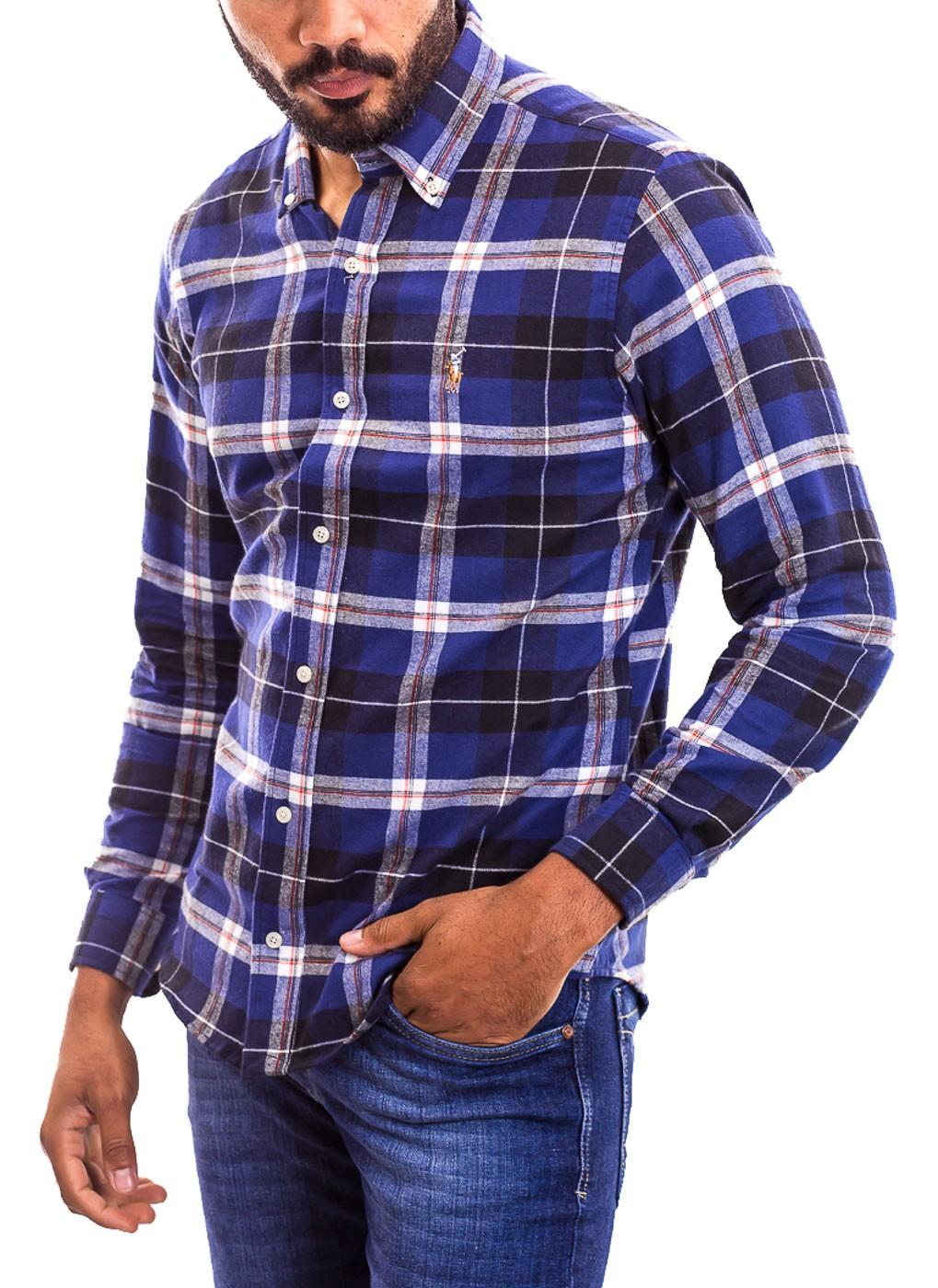 Camisa Ralph Lauren Masculina Custom Fit Checkered Pony Colors Xadrez Flanelada Azul Marinho