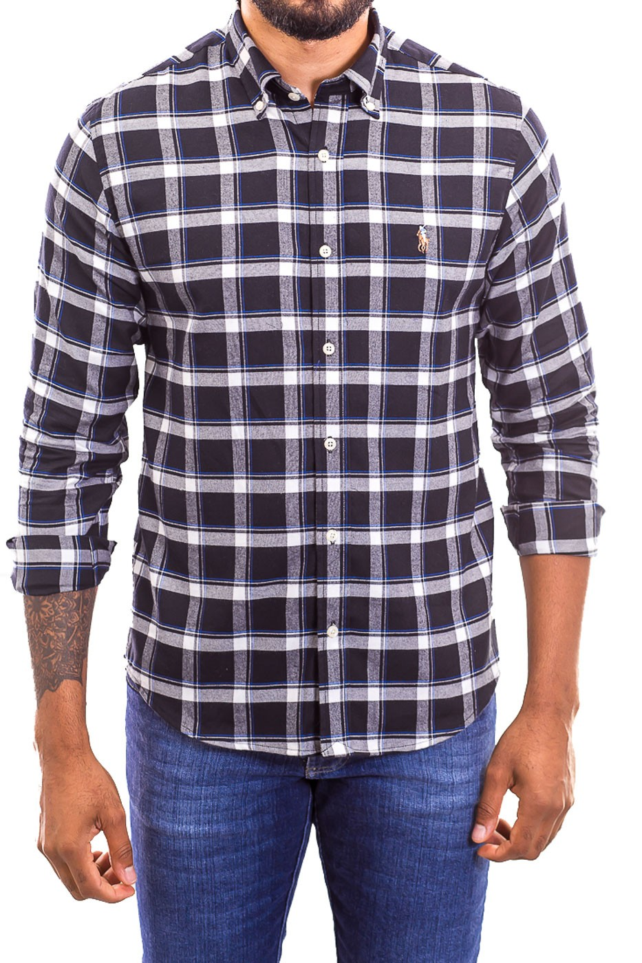 Camisa Ralph Lauren Masculina Custom Fit Colors Icon Check Xadrez Flannel Preto