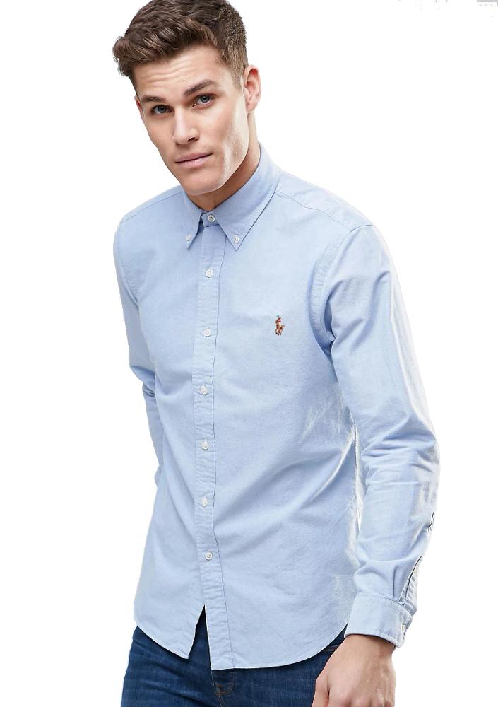 Camisa Ralph Lauren Masculina Custom Fit Oxford Colorful Logo Azul Céu
