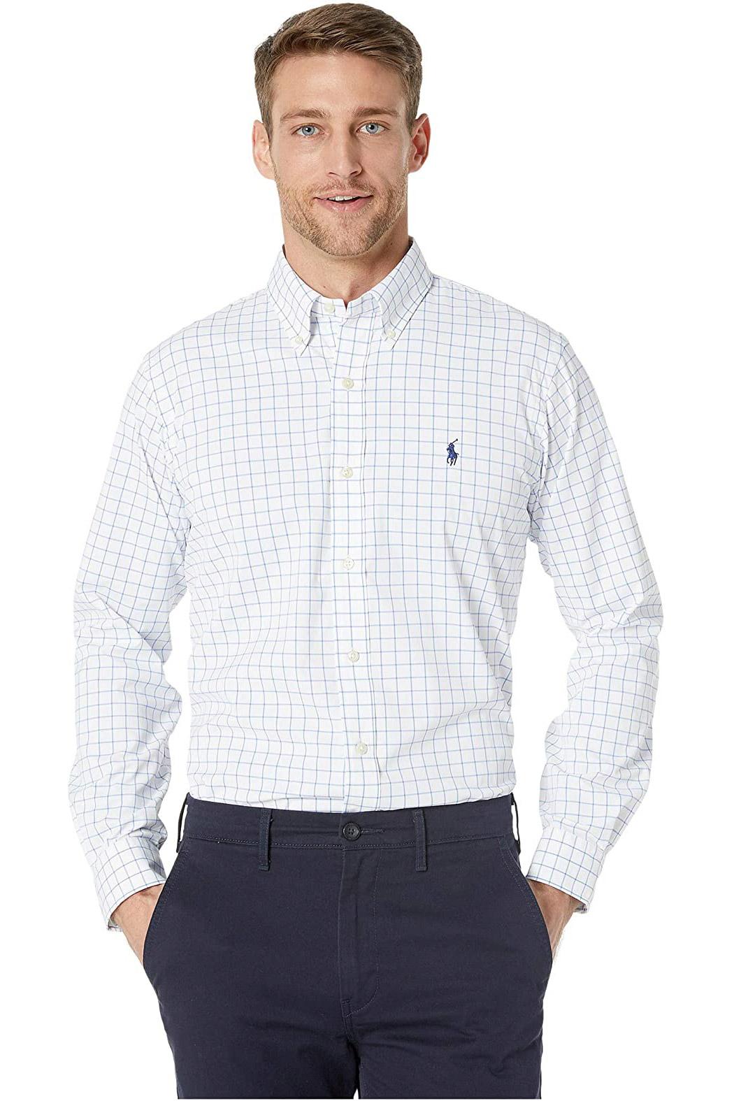 Camisa Ralph Lauren Masculina Custom Fit Tattersall Branco