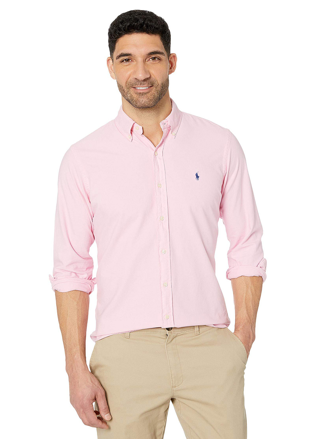 Camisa Ralph Lauren Masculina Custom Fit The Icon Oxford Rosa