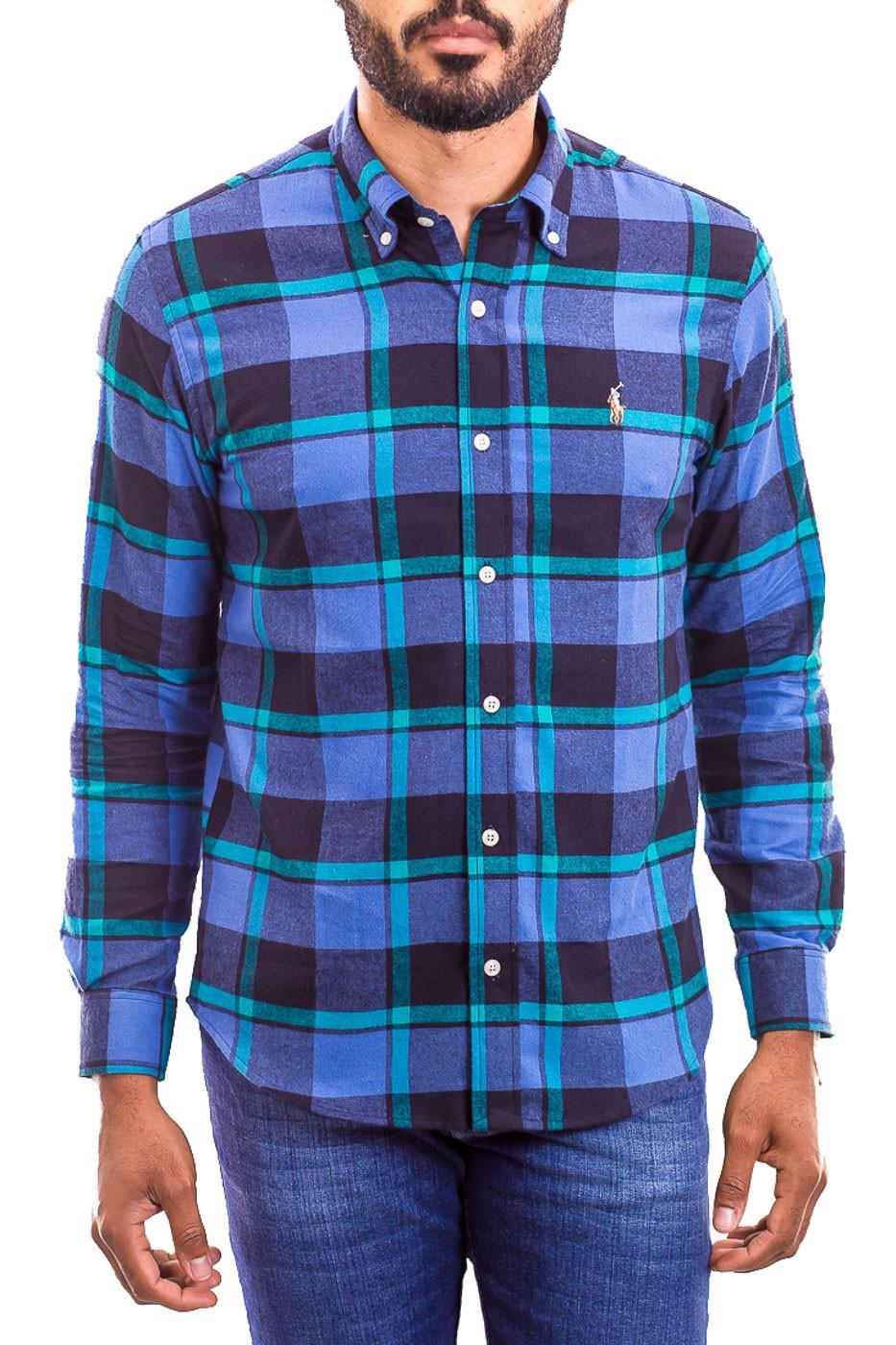 Camisa Ralph Lauren Masculina Custom Fit Xadrez Flanelada Logo Colored Azul
