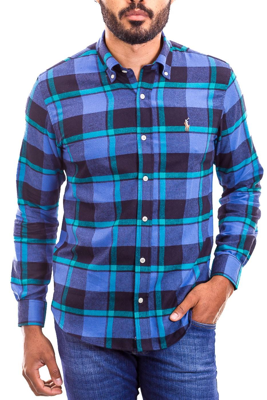 Camisa Ralph Lauren Masculina Custom Fit Xadrez Check Flannel Colors Icon Azul