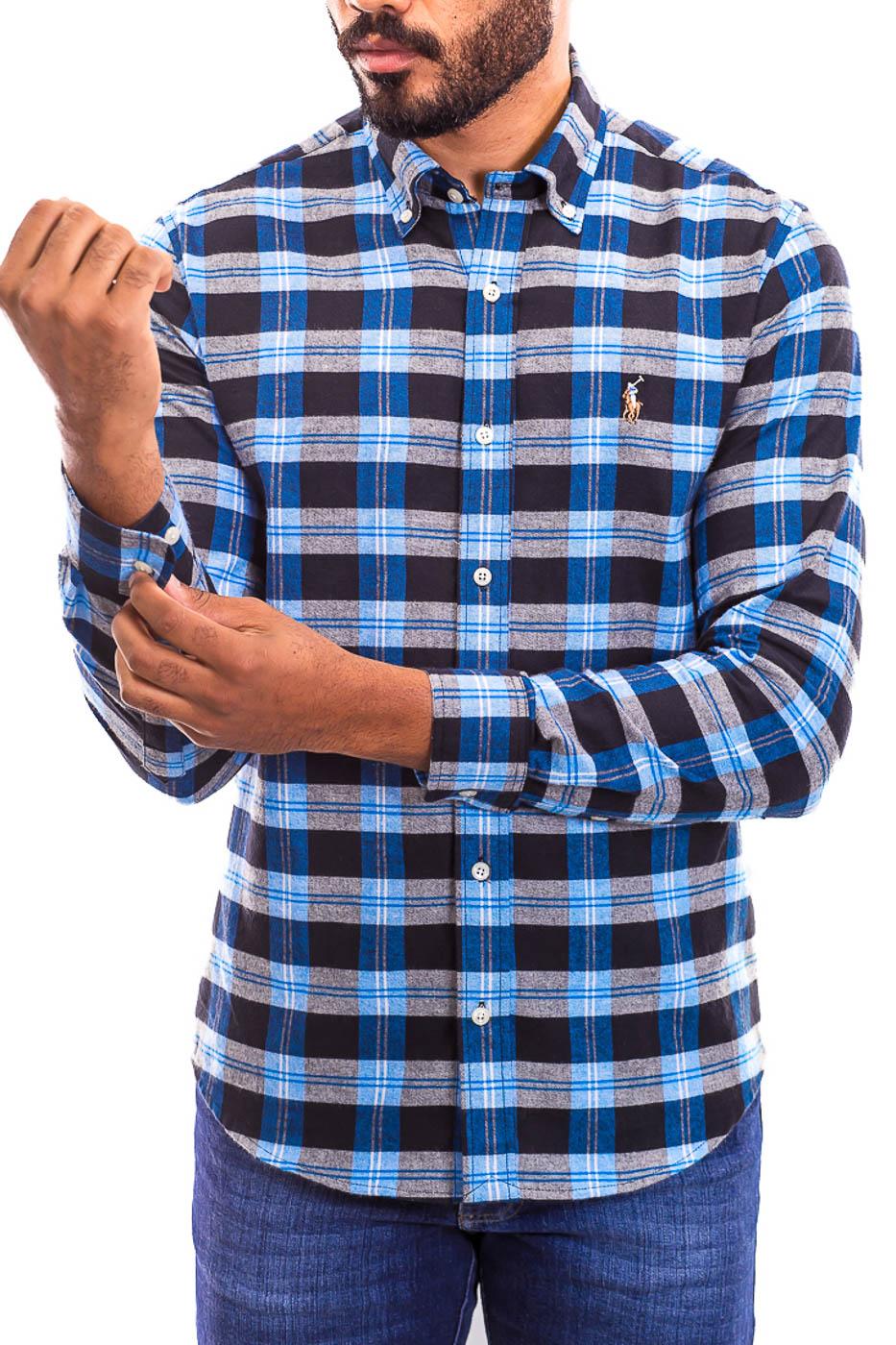 Camisa Ralph Lauren Masculina Flanelada Custom Fit Xadrez Logo Colored Azul e Preto
