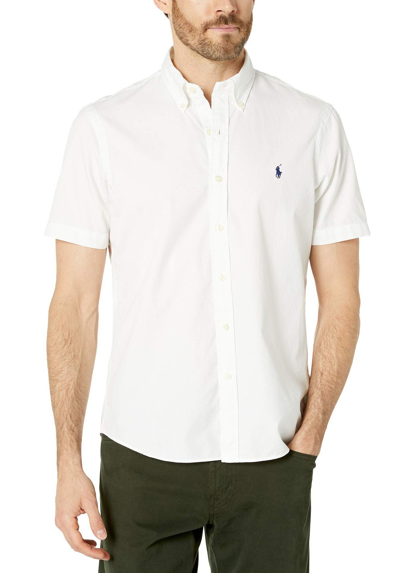 Camisa Ralph Lauren Masculina Manga Curta Custom Fit Algodão Branco