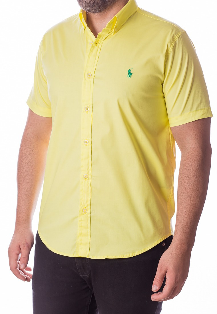 Camisa Ralph Lauren Masculina Manga Curta Custom Fit Algodão Strech Amarelo