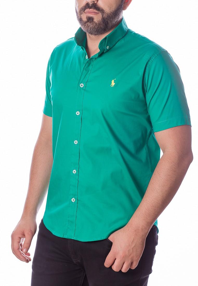 Camisa Ralph Lauren Masculina Manga Curta Custom Fit Algodão Strech Verde