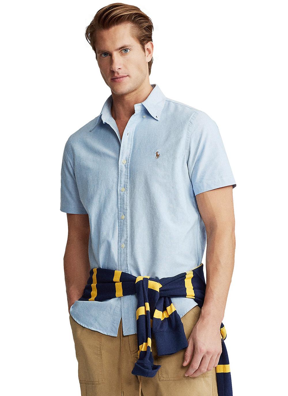 Camisa Ralph Lauren Masculina Manga Curta Custom Fit Colored Icon Oxford Azul Claro