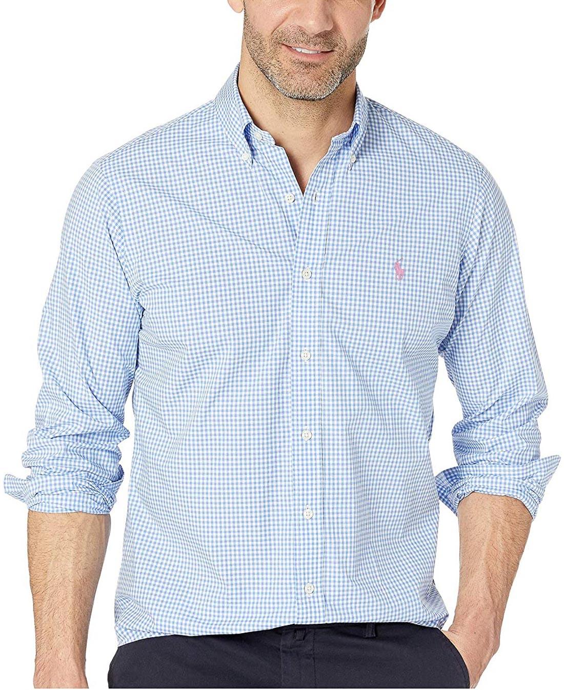 Camisa Ralph Lauren Masculina Slim Fit Poplin Quadriculada Azul Claro