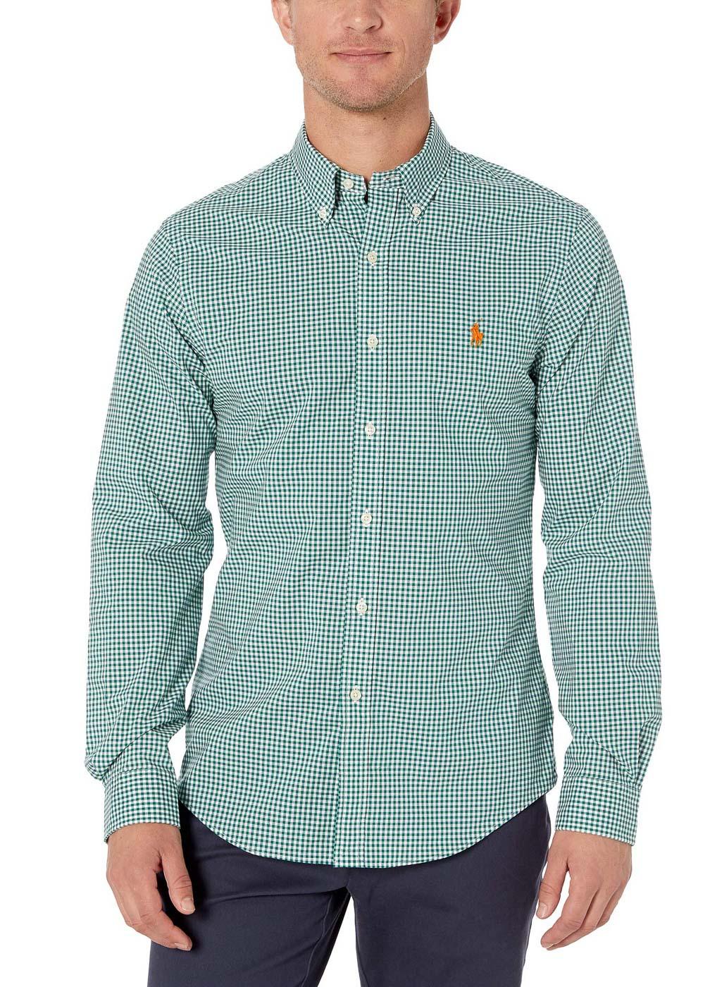 Camisa Ralph Lauren Masculina Slim Fit Poplin Quadriculada Verde