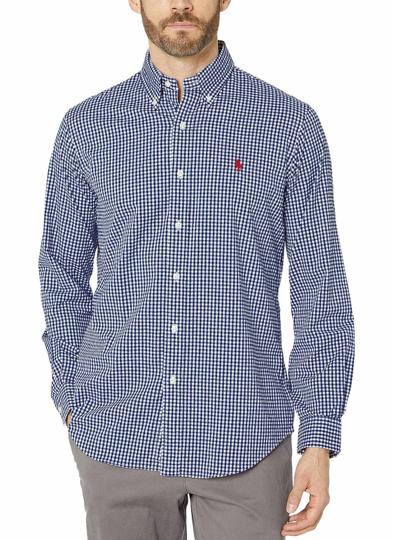 Camisa Ralph Lauren Masculina Slim Fit Quadriculada Poplin Azul Marinho