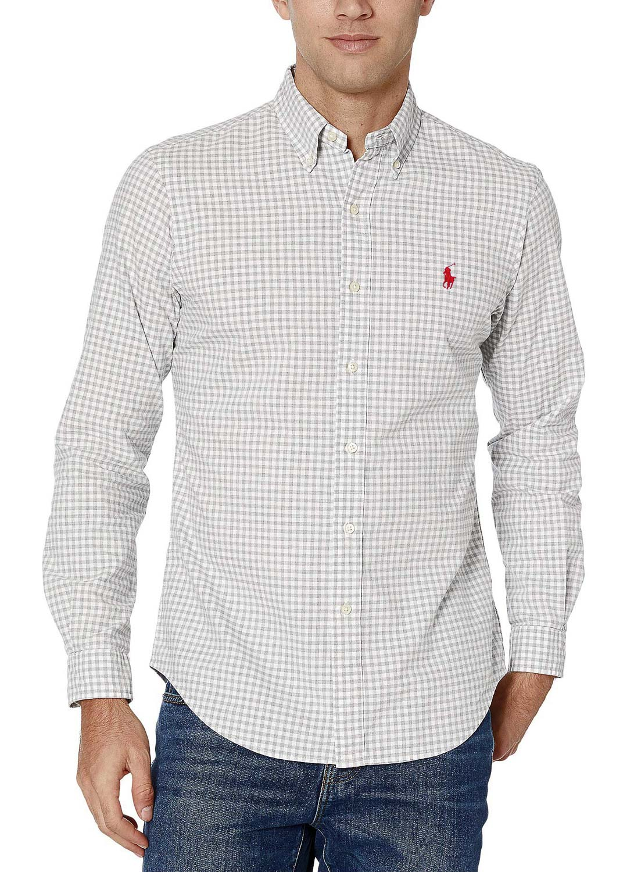 Camisa Ralph Lauren Masculina Slim Fit Quadriculada Poplin Cinza