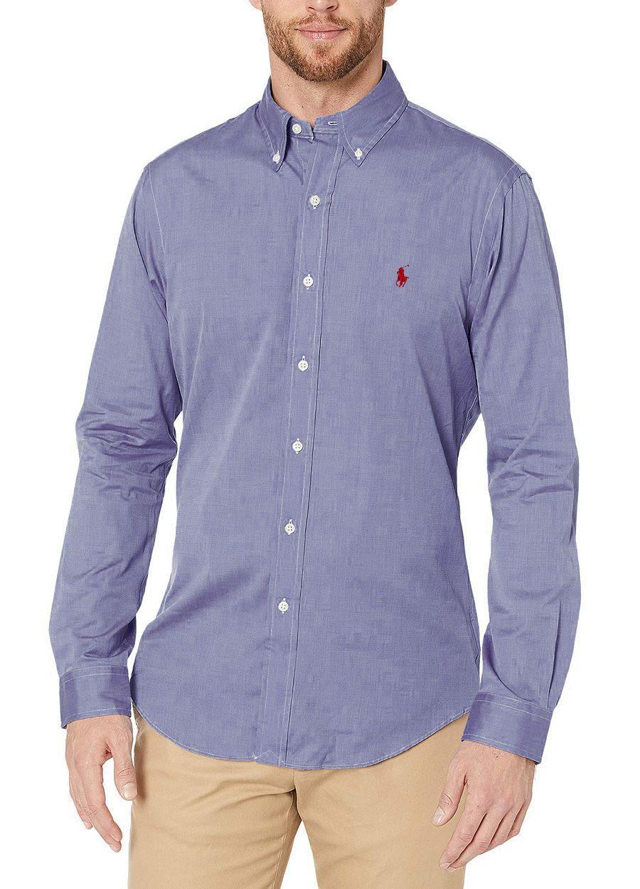 Camisa Social Masculina Polo Ralph Lauren Custom Fit Azul Aço